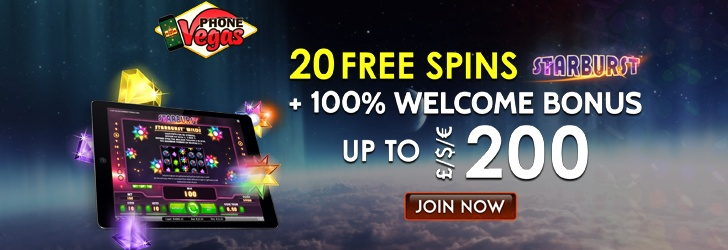 Phone Vegas: 100% match bonus up ?/$/€200 +20 Free Spins!
